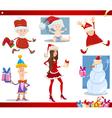 Santa claus and christmas cartoon set vector