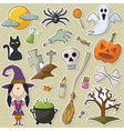 Halloween objects stickers set vector
