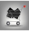 Supermarket shopping cart with tablet ic vector