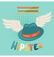 Design with hat and wings in hipster style vector