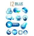Blue icons - web boxes design collection vector