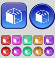 3d cube icon sign a set of twelve vintage buttons vector