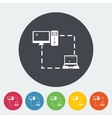 Computer sync single flat icon vector