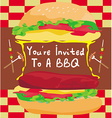 Bbq party big burger invitation vector