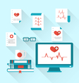 Set modern flat medical icons with paper documents vector