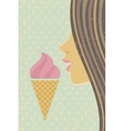 Ice cream cone and young girl vector