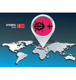 Map pin with istanbul skyline vector