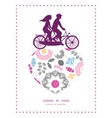 Vibrant floral scaterred couple on tandem bicycle vector