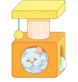 Cute british cat in the cat house vector