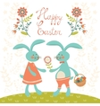 Easter card with rabbits vector