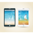Smartphones with picture of beach and tropical sea vector