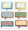 Six torn paper speech bubbles vector