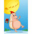 A molehog holding a gift vector