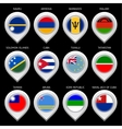 Map marker with flag-set thirteenth vector