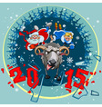 New year 2015 santa claus and snow maiden grabbed vector