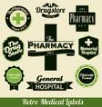 Retro medical labels vector