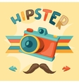 Design with photo camera in hipster style vector