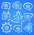 Christmas speech bubles set various shapes on blue vector