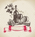 Wine vintage background hand drawn vector