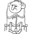 Grumpy old man cartoon coloring page vector