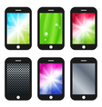 Black mobile phone with different wallpapers vector