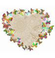 Floral heart with butterfly vector