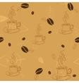 Seamless pattern with coffee beans cups and leaves vector