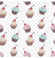 Doodle cupcakes pattern vector