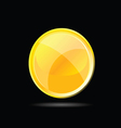 Yellow glossy button on black vector