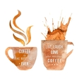 Watercolor coffee cups with type vector