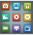 Flat icon set white symbols device vector
