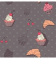 Seamless pattern with cupcakes and croissants in vector