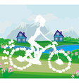 Abstract card with girl riding a bike vector