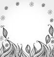 Decorative hand dravn flowers sketch doodle black vector