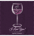 Purple love card with a glass of wine filled vector