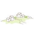 Rural house green landscape vector