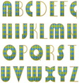 Alphabet of checkered letters vector