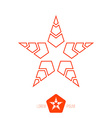 Minimal red monochrome vintage star made of thin vector