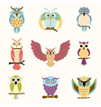 Set of nine cartoon colorful owls vector