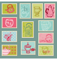 Retro teapot stamps vector