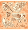 Set birds and hearts vector
