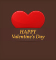 Valentines day greetings card red heart over brown vector
