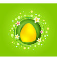 Yellow easter egg with spring element card vector