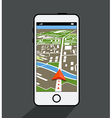 Modern smartphone with navigation application vector