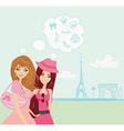 Beautiful girls shopping in paris vector