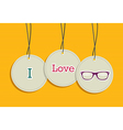 Hanging i love hipsters badges vector