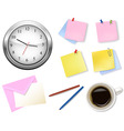 A clock and office supplies vector