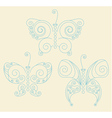 Set of three blue patterned butterflies vector