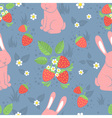 Rabbits and wild strawberries seamless pattern vector