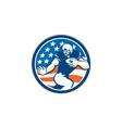 American football running back fending circle vector